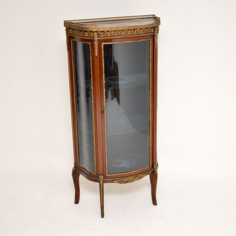 Late 19th Century Antique French Mahogany and Marble Display Cabinet Vitrine For Sale