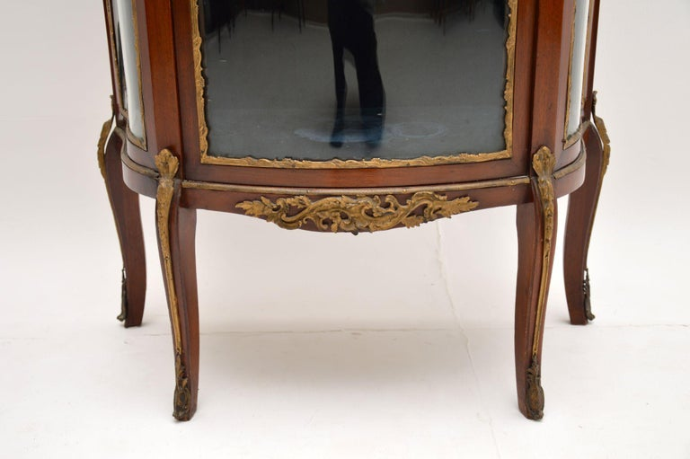 Antique French Mahogany and Marble Display Cabinet Vitrine For Sale 2