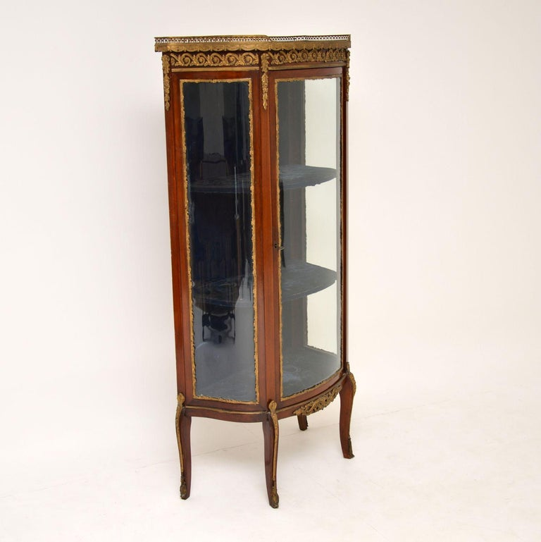 Antique French Mahogany and Marble Display Cabinet Vitrine For Sale 4