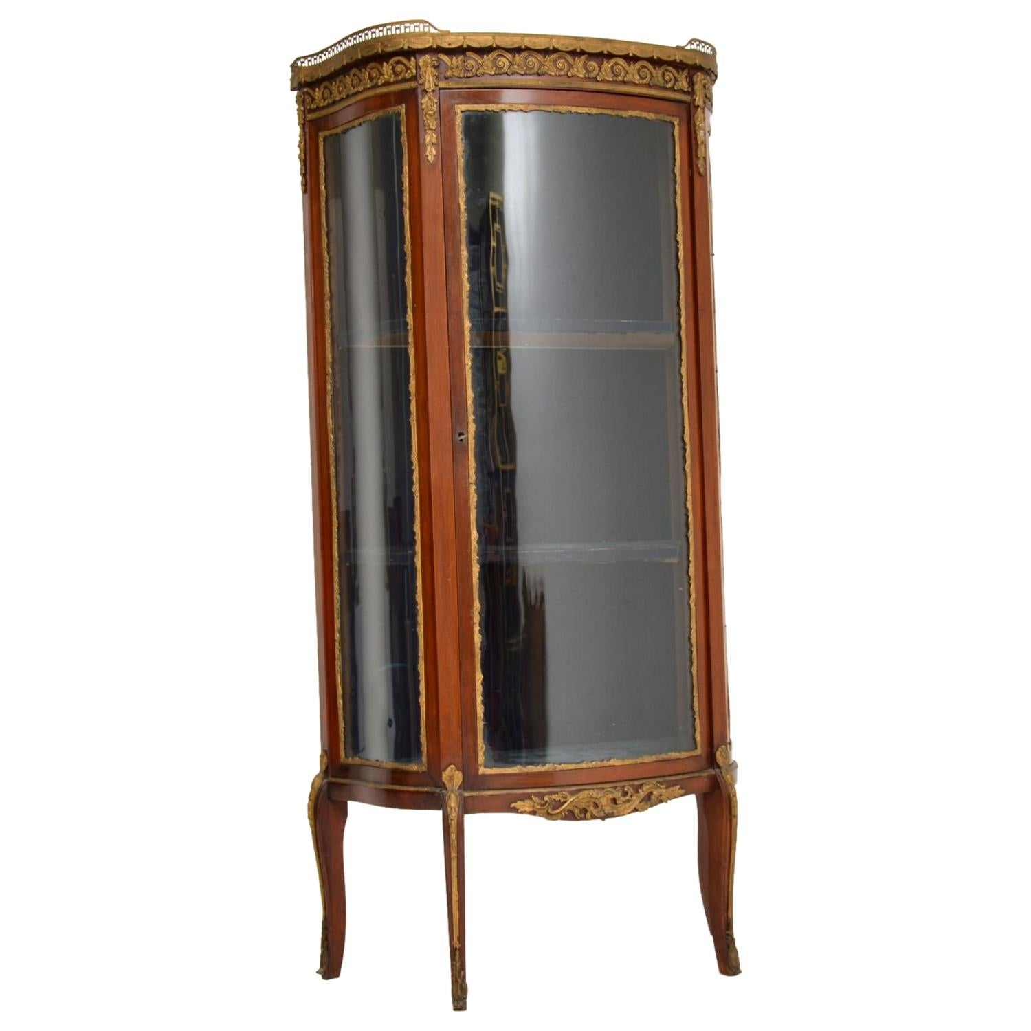 Antique French Mahogany and Marble Display Cabinet Vitrine