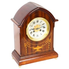 Antique French Mahogany and Marquetry Mantel Clock, Early 20th Century