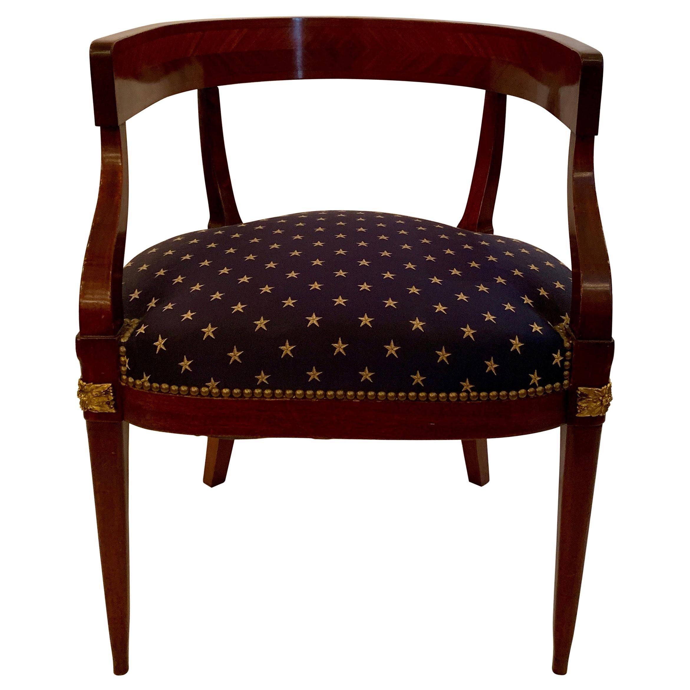 Antique French Mahogany Barrel Back Desk Chair 19th Century