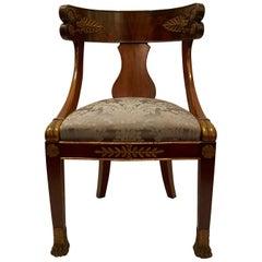 Antique French Mahogany Barrel Back Desk Chair