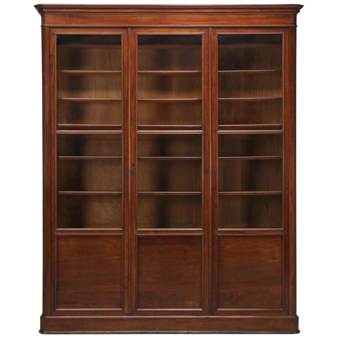 Antique French Mahogany Bookcase, Original and Beautiful Unrestored Condition