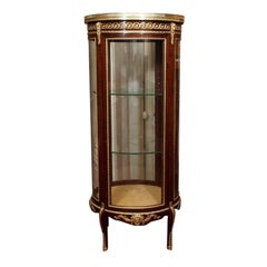 Antique French Mahogany Circular Display Cabinet with Bronze Trim