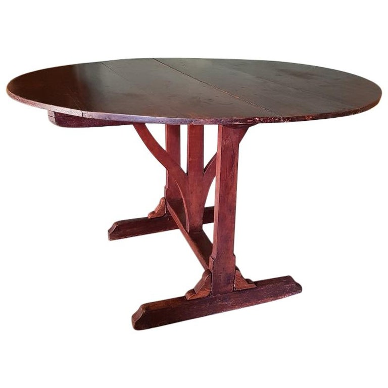 Antique French Mahogany Colored Wine Table from the Champagne Region