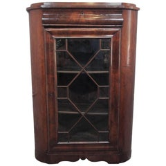 Antique French Mahogany Corner Cabinet or Bookcase Louis Philippe