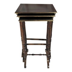 Antique French Mahogany Nest of Tables with Bronze Inlay