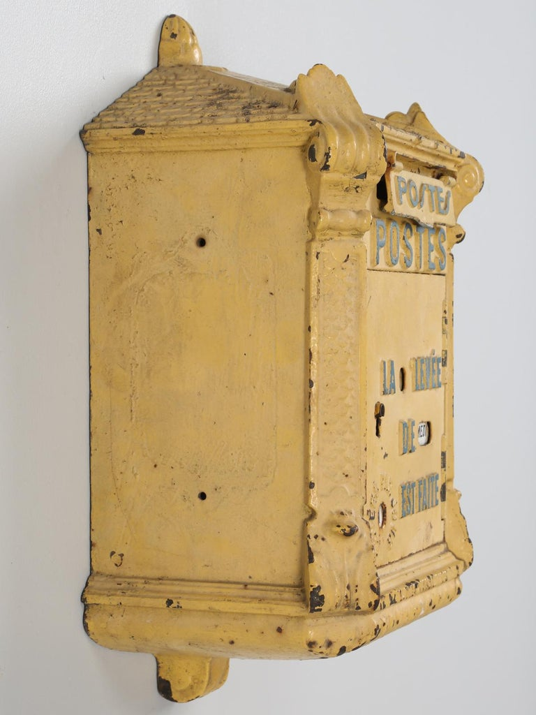 Antique French Mailbox from the Early 1900s In Fair Condition For Sale In Chicago, IL