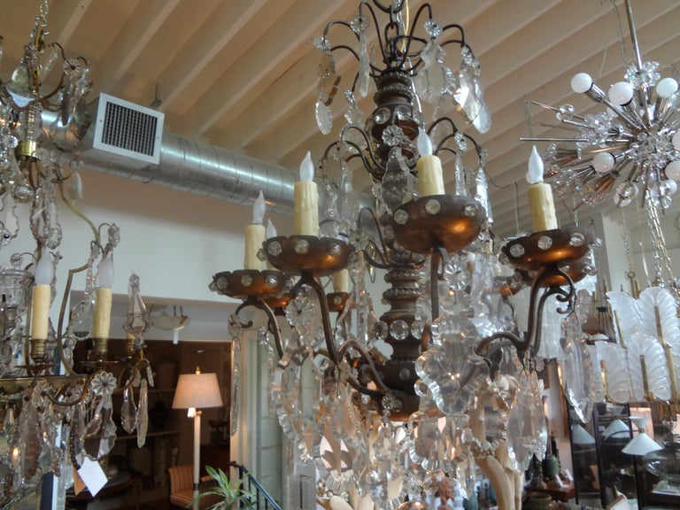 Antique French Maison Baguès Attributed Beaded and Crystal Chandelier For Sale 4
