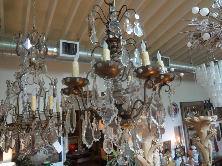 Antique French Maison Baguès Attributed Beaded and Crystal Chandelier For Sale 6