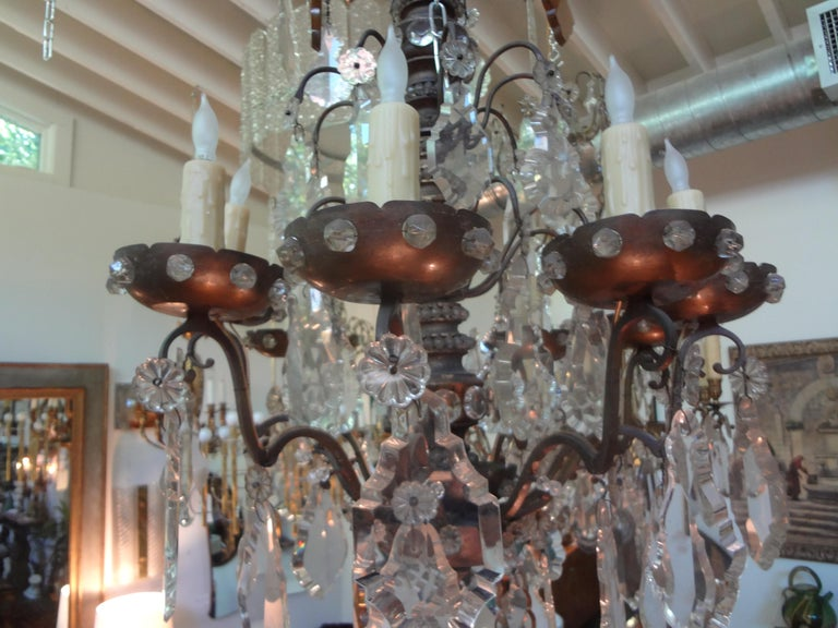 Antique French Maison Baguès Attributed Beaded and Crystal Chandelier For Sale 7