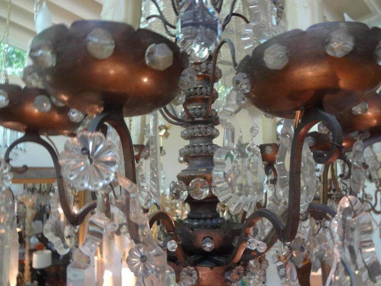 Antique French Maison Baguès Attributed Beaded and Crystal Chandelier For Sale 8