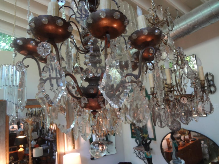 Antique French Maison Baguès Attributed Beaded and Crystal Chandelier For Sale 10