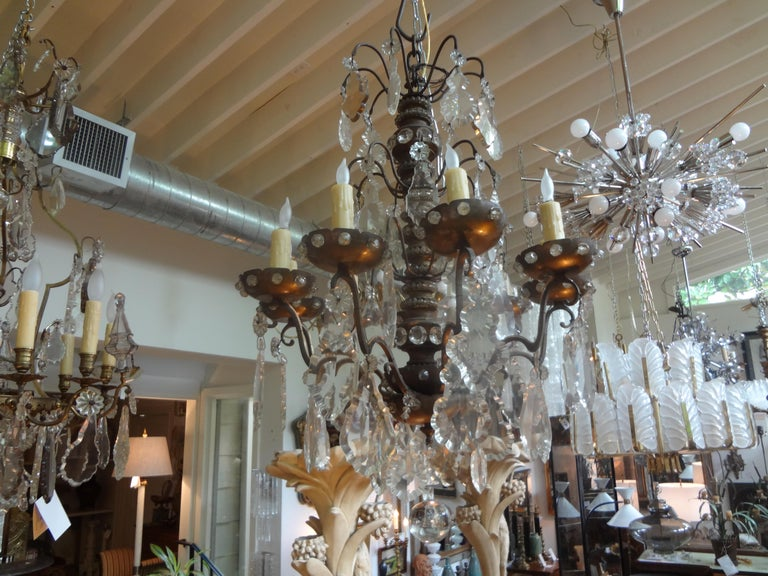 Louis XVI Antique French Maison Baguès Attributed Beaded and Crystal Chandelier For Sale
