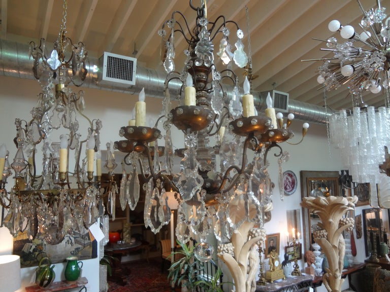 Antique French Maison Baguès Attributed Beaded and Crystal Chandelier In Good Condition For Sale In Houston, TX