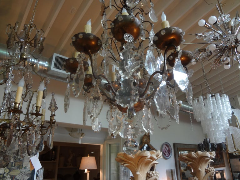 Early 20th Century Antique French Maison Baguès Attributed Beaded and Crystal Chandelier For Sale