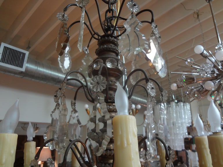Antique French Maison Baguès Attributed Beaded and Crystal Chandelier For Sale 1