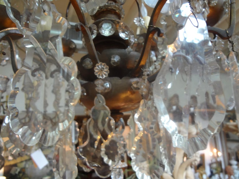Antique French Maison Baguès Attributed Beaded and Crystal Chandelier For Sale 2