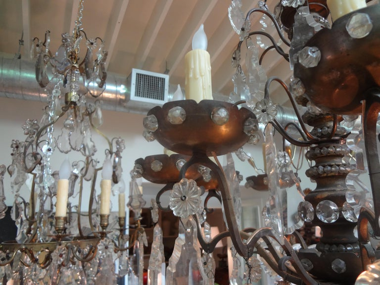Antique French Maison Baguès Attributed Beaded and Crystal Chandelier For Sale 3