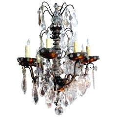 Antique French Maison Baguès Attributed Beaded and Crystal Chandelier
