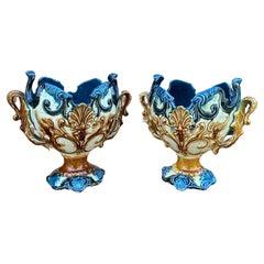 Antique French Majolica Pair Cache Pot Planter Flower Pot Jardiniere Vase c 1900