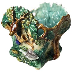 Antique French Majolica Planter with Stag Motif