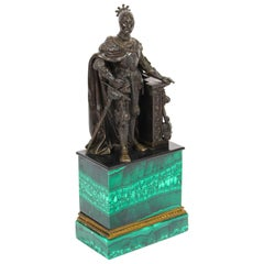 Antique French Malachite & Bronze Sculpture of a Knight in Armour, 19th C
