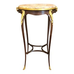 Antique French Mahogany Marble-Top Occasional Table with Ormolu Mounts