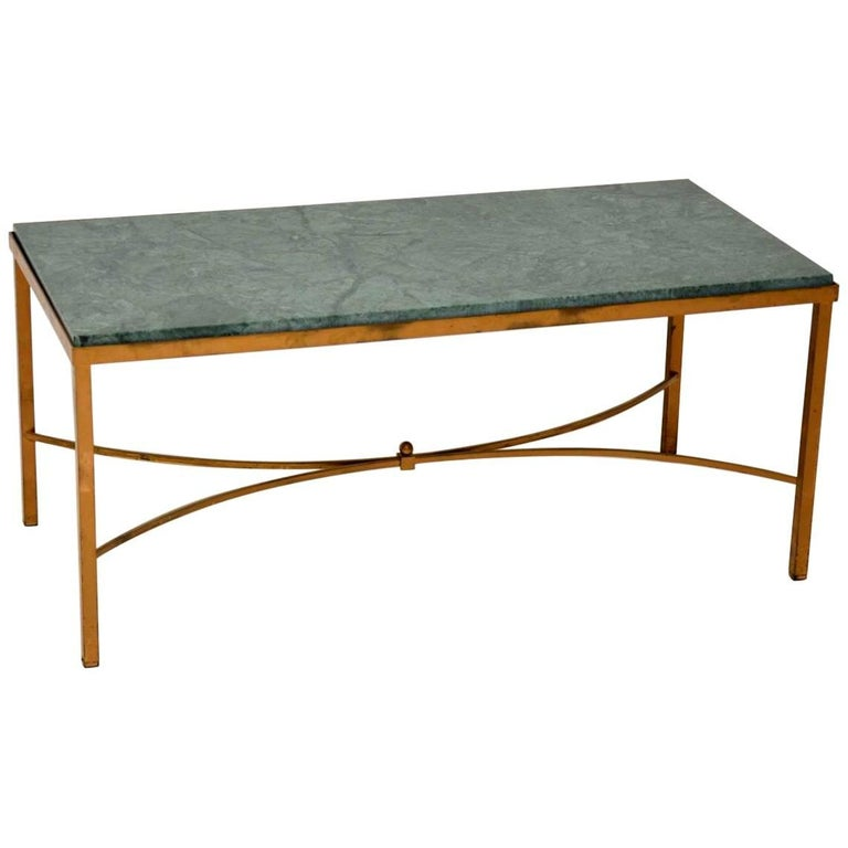 Antique French Marble And Brass Coffee Table For Sale At