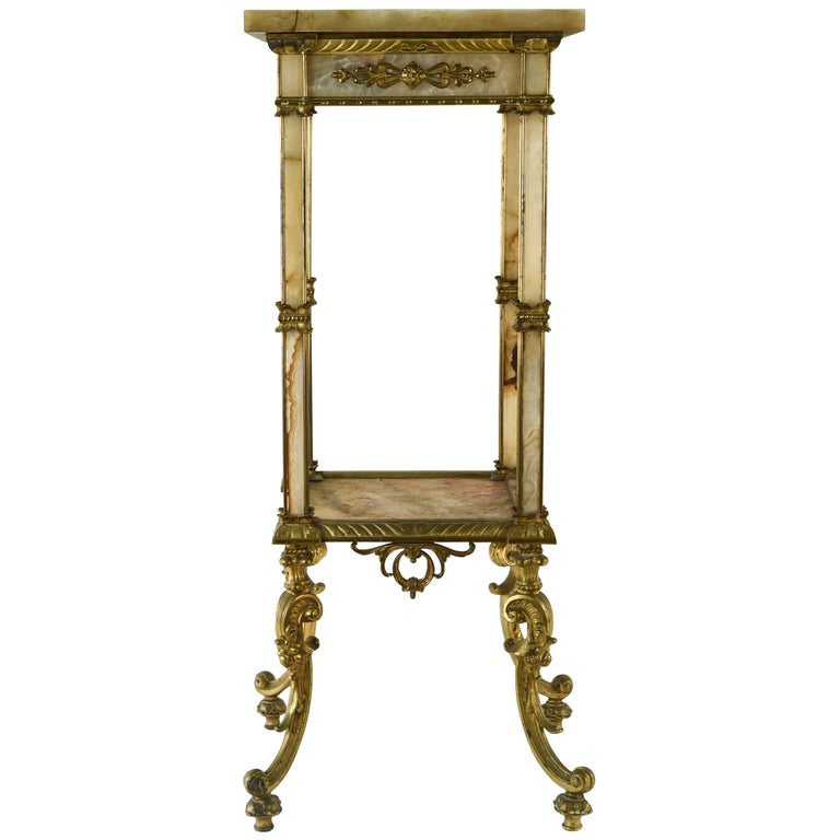 Antique French Marble And Br Pedestal Stand For
