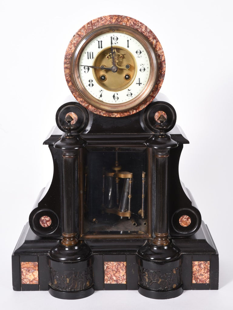 Bronzed Antique French Marble and Bronze Mantle Clock For Sale