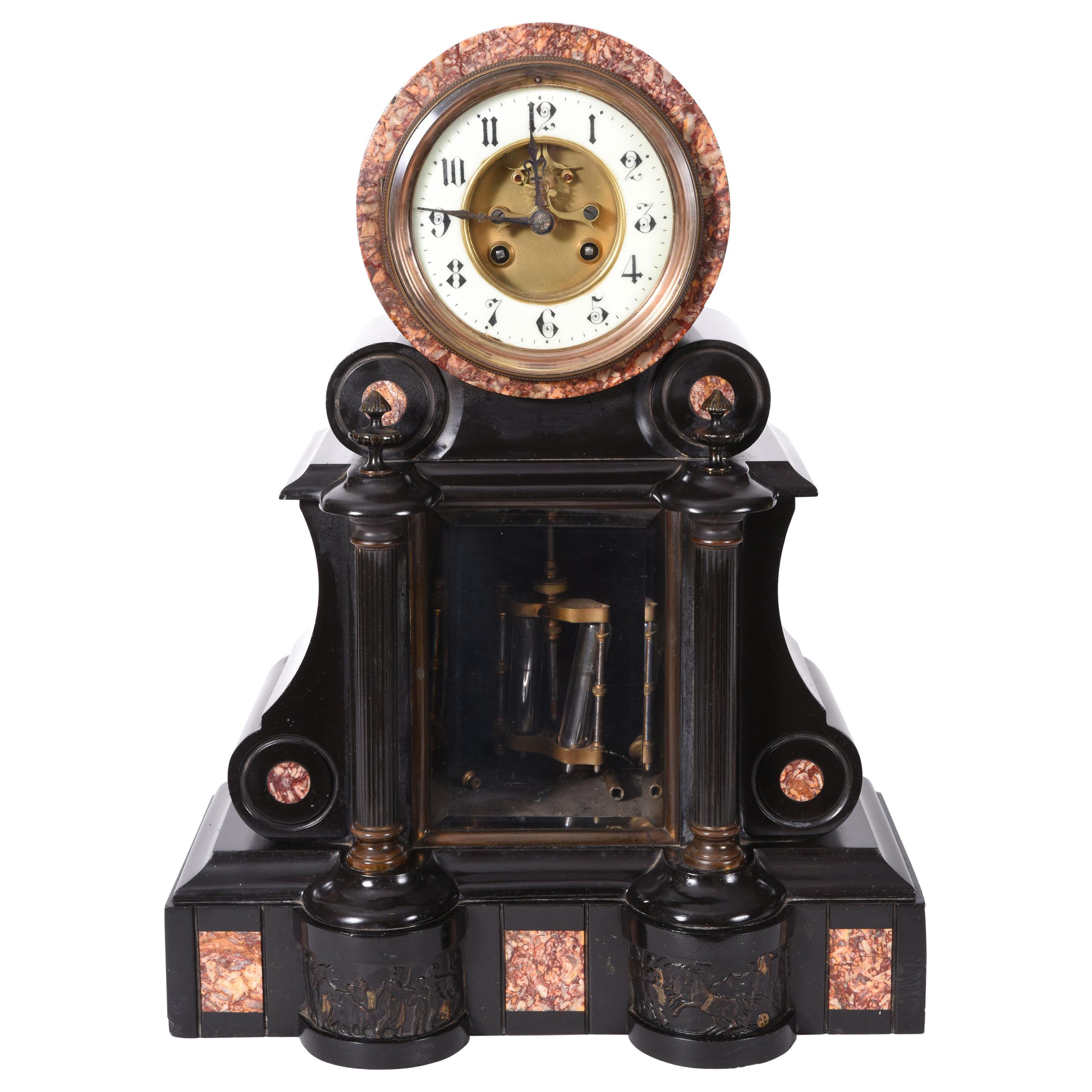 Antique French Marble and Bronze Mantle Clock