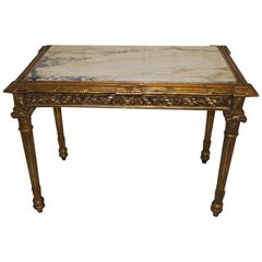 Antique French Marble and Giltwood Console Table or Hall Table