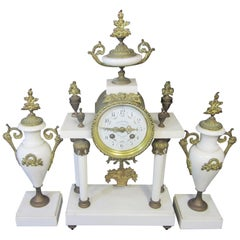 Antique French Marble and Ormolu Clock / Garniture Set