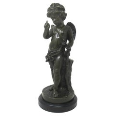 Antique French Marble Bronze Cupid Figure after Jean Baptiste Pigalle Cherub