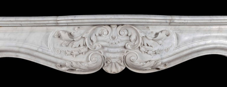 Carved Antique French Marble Fireplace For Sale