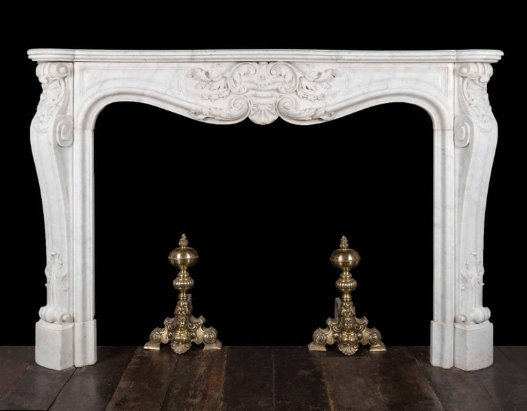 Carrara Marble Antique French Marble Fireplace For Sale