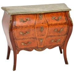 Antique French Marble-Top Bombe Chest