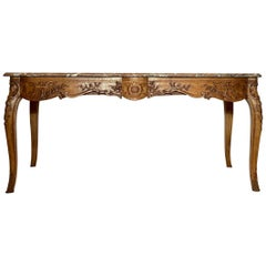 Antique French Marble-Top Carved Regency Center Table
