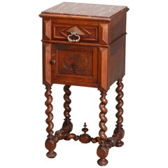 Antique French Marble-Top Carved Walnut Barley Twist and Marble Side Stand
