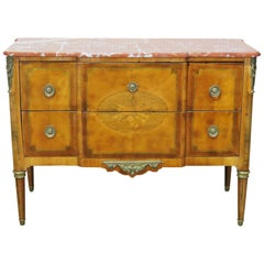 Antique Inlaid Satinwood Louis XV Rouge Marble Top Commode Dresser Foyer Chest