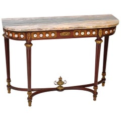 Antique French Marble-Top Console Side Table