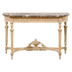 Antique French Marble-Top Console Table with Carved Urn & Foliage at Underside