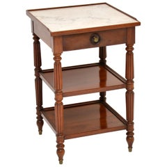 Antique French Marble-Top Mahogany Side Table