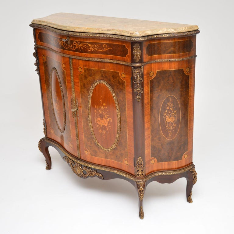 Mid-20th Century Antique French Marble-Top Ormolu Mounted Cabinet For Sale