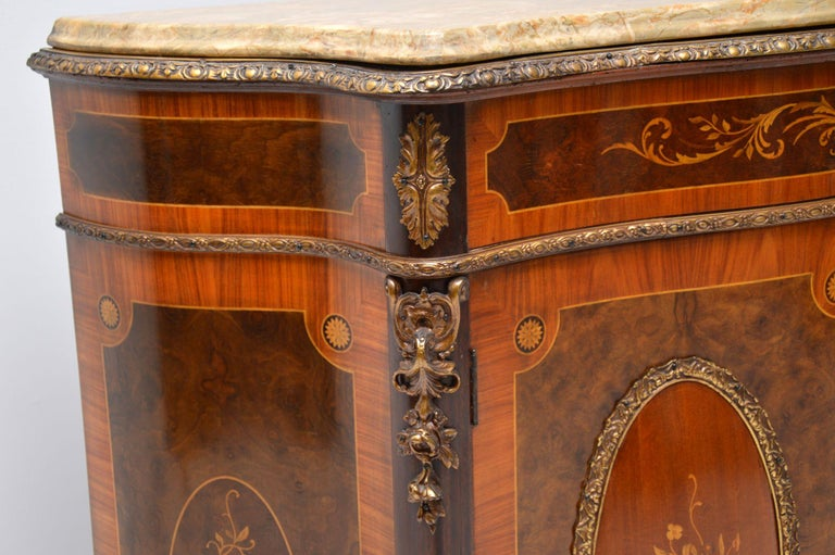 Antique French Marble-Top Ormolu Mounted Cabinet For Sale 2