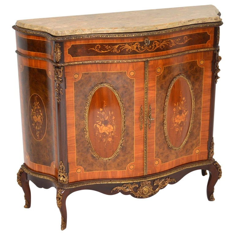 Antique French Marble-Top Ormolu Mounted Cabinet For Sale