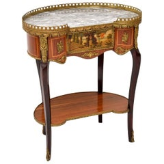 Antique French Marble-Top Side Table