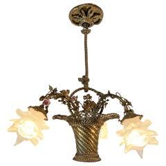Antique French Marie Antoinette Gold Bronze and Porcelain Basket Chandelier 1880